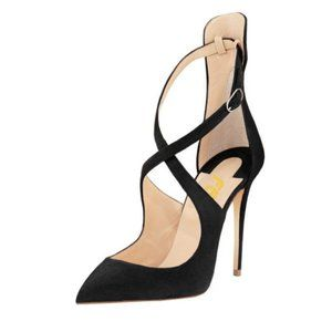 FSJ Pointed Toe Ankle Strap High Stiletto Heels